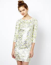 french connection dress in animal wave sequin in white lyst