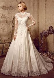 long sleeves victorian style modest lace wedding dress lace