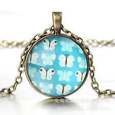 fresh sweet butterfly pattern pendant bronze chain glass dome