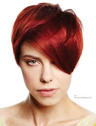 red hair cut into a short style with short contours and long top hair