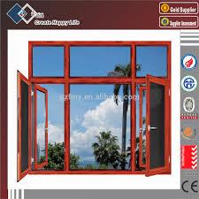 villa design wooden color aluminum frame casement window with