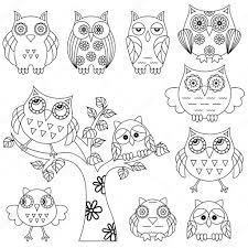 set of ornamental owl and tree black outlines stock vector