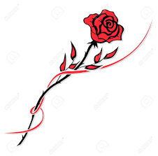 simple red rose drawing isolated on white royalty free cliparts