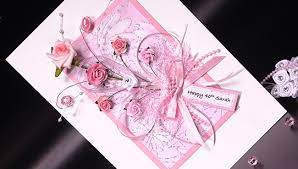 pink bouquet hand made birthday card greeting card