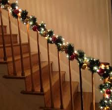 stunning christmas stair decorations with lights design home