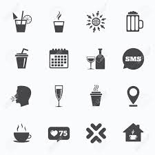 cocktail icon vector calendar go to web and like counter tea coffee and beer icons