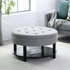 Tufted Grey Ottoman Living Room Storage Ottoman Espresso Coffee Table
