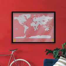 Large Framed World Map by Scratch Map Personalized World Map Poster
