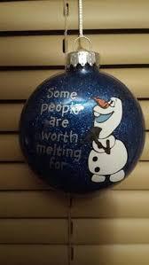 frozen inspired olaf glitter ornament i like warm hugs