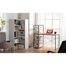 Built In Computer Desks Desk With Built In 4 Shelf Bookcase Natural Wood Homestar Target