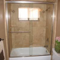 Glass Bathtub Enclosures White Tub Combined With Sliding Glass Door And Silver Steel Pole