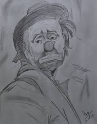 pencil sketch of a sad joker desipainters com