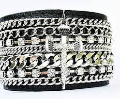 rhinestone cuff bracelet images Black leather bracelet with multiple layers of chain and crystal jpg