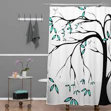 elegant white shower curtain design with black tile mosaic pattern artistic
