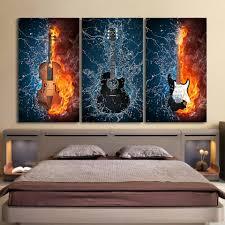 music wall decor 3 panels canvas art black burning fire guitar music ash wall decor