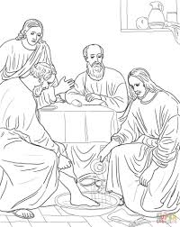 woman washing jesus feet with her hair coloring page free