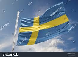 Sweedish Flag Swedish Flag Waving Beautiful Peaceful Sky Stock Illustration