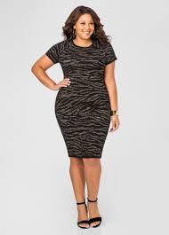 metallic zebra bodycon sweater dress plus size dresses ashley