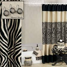 zebra bathroom ideas appealing white ruffled shower curtain ideas bathroom shower