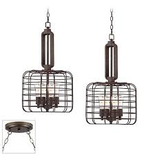 Cage Light Pendant Industrial Style Cage Bronze Double Multi Light Pendant Y0404