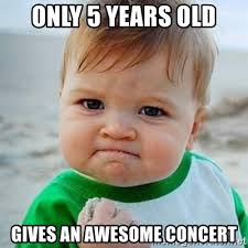 Old Baby Meme - only 5 years old gives an awesome concert victory baby meme