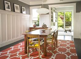 wainscoting dining room craftsman with gray walls white