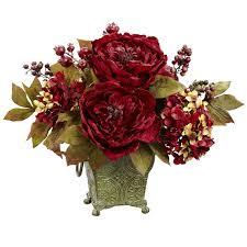peony arrangement peony and hydrangea silk flower arrangement in rustic green bucket