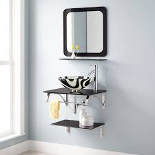 caprice wall mount glass sink set with mirror bathroom