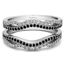 Black Diamond Wedding Rings by Black And White Diamond Double Infinity Wedding Ring Guard