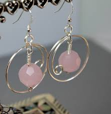 make dangle earrings pink jade large gemstone earrings pink jade wire wrapped dangle