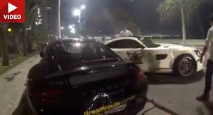 porsche gt crash mercedes amg gt crashes into parked 911 458 italia in