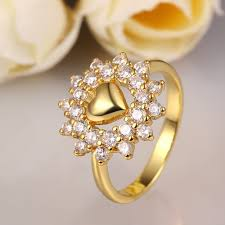 flower style rings images Big flower style yellow gold plated engagement ring for womens jpg