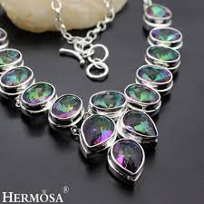 silver necklace with stone images Huge rainbow mystic fire stone 925 sterling silver necklace 18 jpg