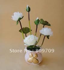 Wholesale Silk Flower Arrangements - 50pcs lot artificial silk lotus flower bouquet lifelike mini water