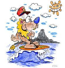 le lion est le roi des animaux mais il est aussi le roi du surf