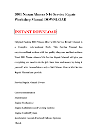 2001 nissan almera n16 service repair workshop manual download