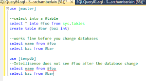 how to create temp table in sql sql server how do i get ssms intellisense to keep my temp tables