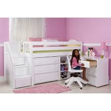 maxtrixkids great2 l or r wc low loft bed with staircase desk