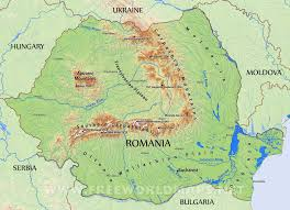 World Physical Map by Romania Physical Map