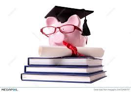 graduation piggy bank graduate piggy bank student collage graduation diploma stock photo