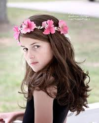 girl hair flower girl hair wreath flower girl hair accessories pink