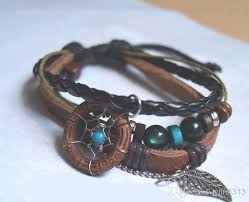 leather leaf bracelet images New arrival handmade indian dream catcher bracelet with wooden jpg