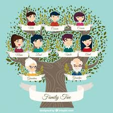 great family tree with decorative leaves in green tones vector
