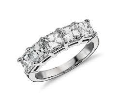classic asscher cut five stone diamond ring in platinum 2 1 2 ct