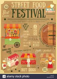 street food and fast food truck festival on vintage retro poster