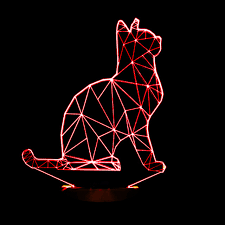 2016 new cool 3d spiralism night lamp cat animal shapes bedroom