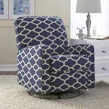 furniture contemporary pattern fabric swivel glider recliner
