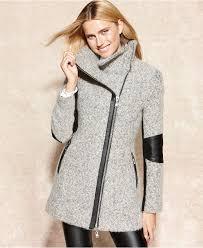calvin klein coat faux leather trim heathered coats women