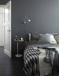 dark brown headboard for double bed in gray and yellow bedroom