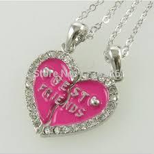 friendship heart enamel heart best friends friendship forever heart necklace